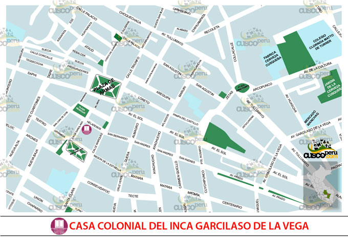 Map of the house of Inca Garcilaso de la Vega