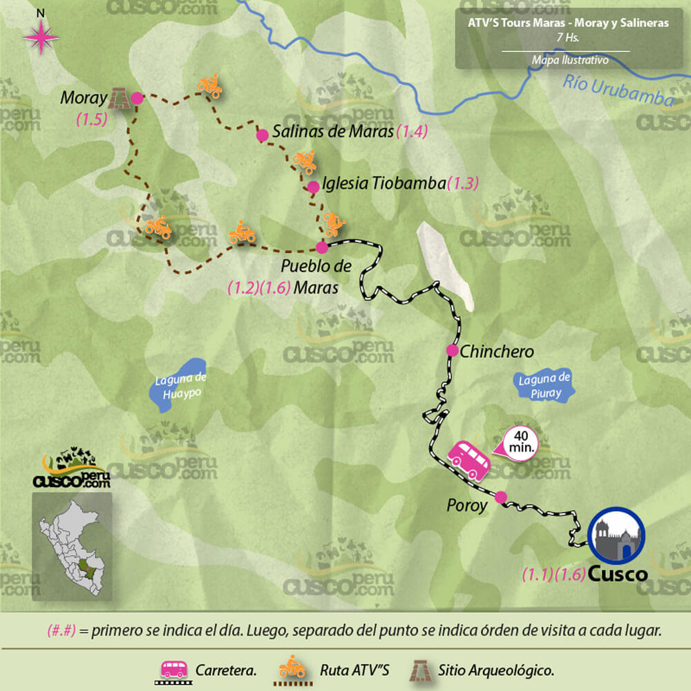 map tour ATV Tour Maras, Moray y Salineras 8 Hours