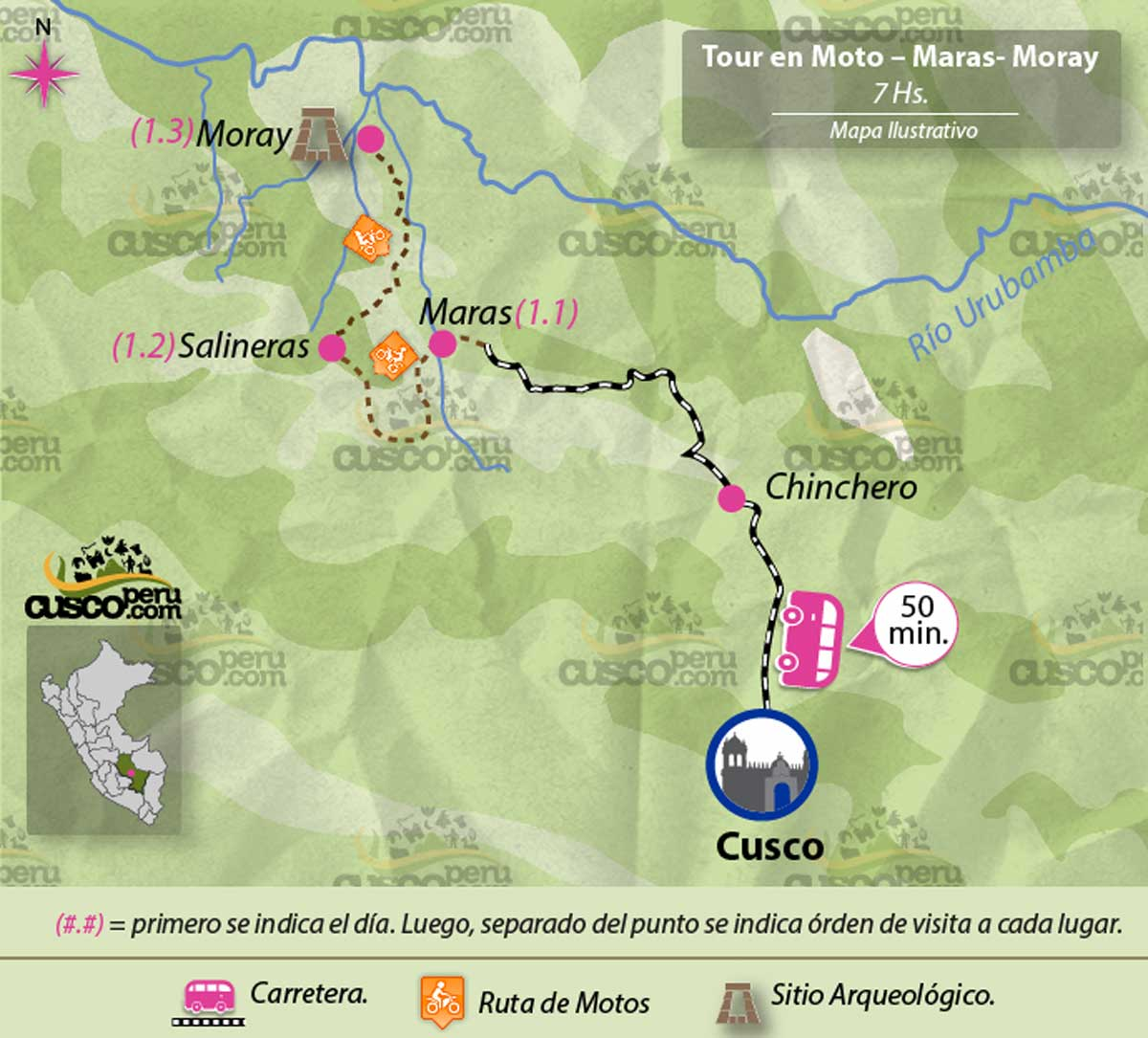map tour Motorcycle tour to the Sacred Valley full day