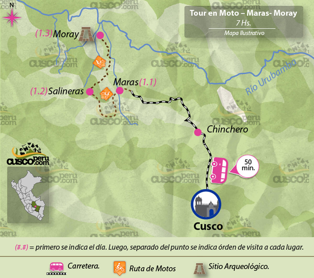 tour map Maras and Moray 1 Day