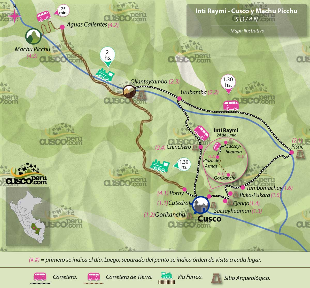 map Inti Raymi ceremony Cusco & Machu picchu Tour of 5 days