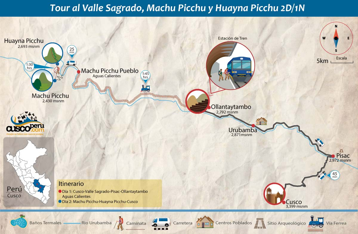 map sacred valley and huayna picchu 2 days
