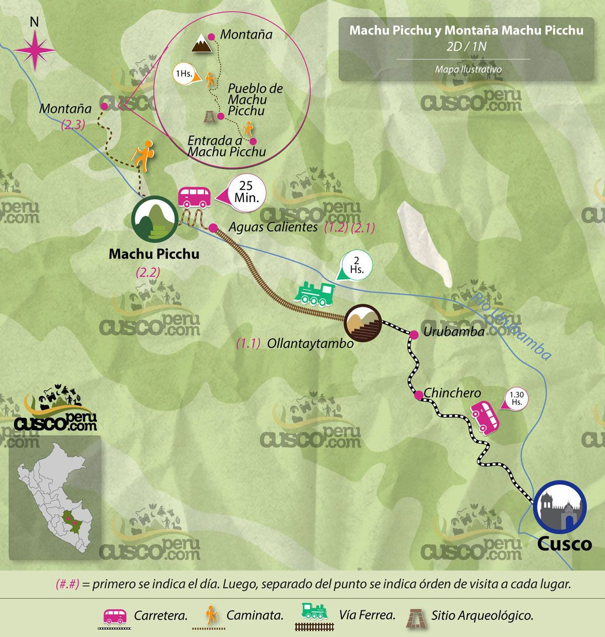 map tour machu picchu montana 2 days