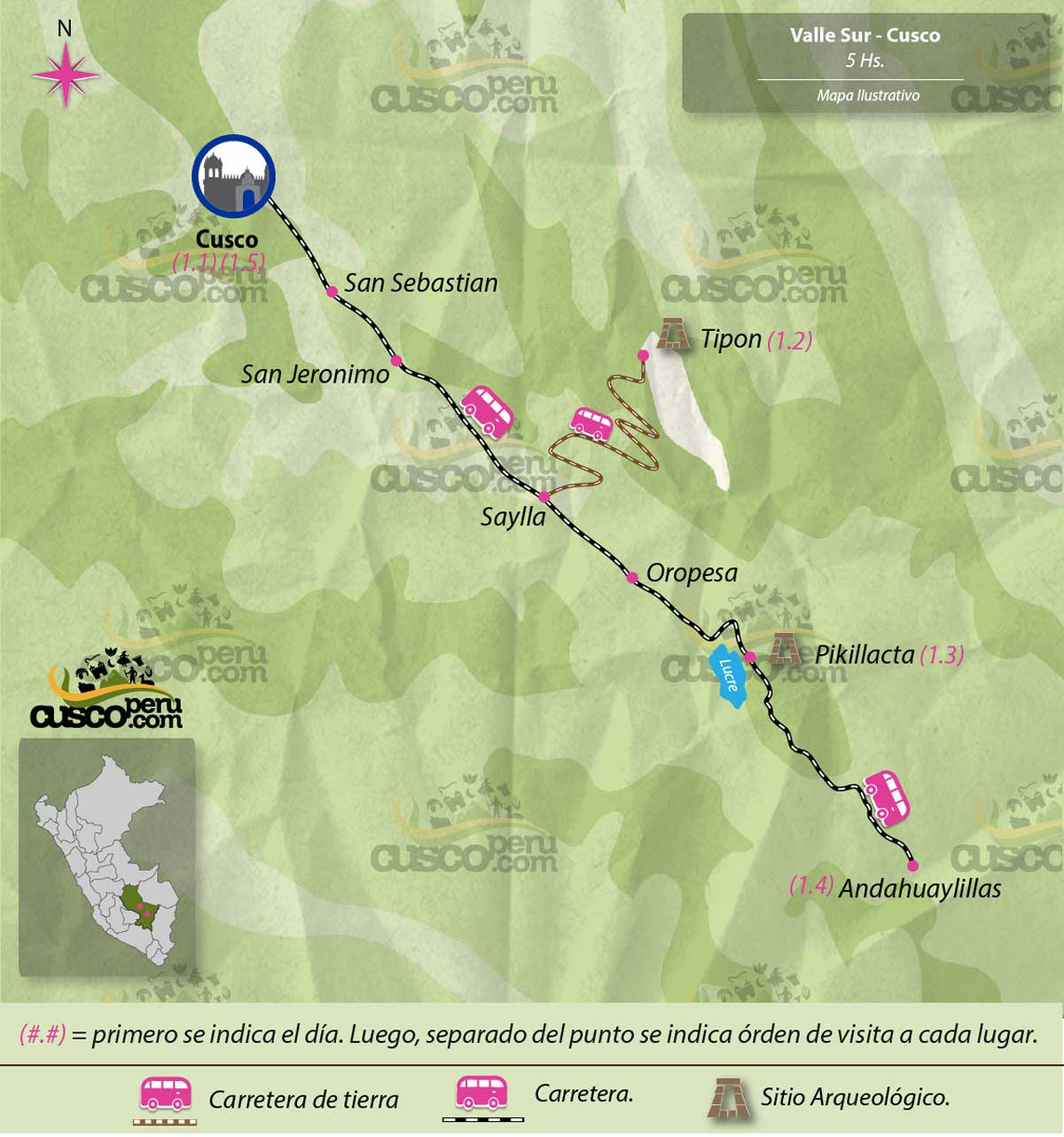 Mapa Tour Valle Sur del Cusco 5 Horas